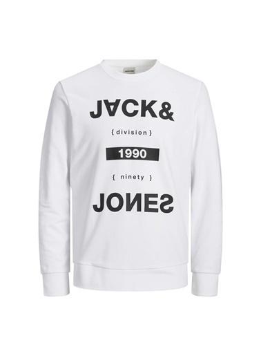 Jack & Jones Sweat Pilot Crew Neck 12161759-Wht Beyaz